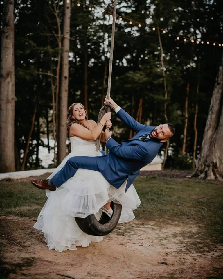 Wedding Couple on Tire Swing